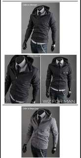 B13 25 Korea Style Mens Slim Fit Casual Hoodies Zip UP