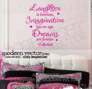 TINKERBELL Vinyl Wall Quote Decal LAUGHTER DREAMS