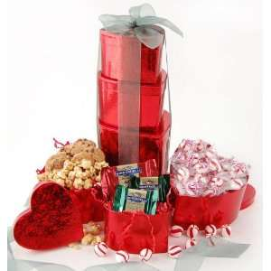 Holiday Hearts Gourmet Candy Tower   Valentines Day Gift Idea
