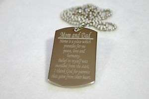 MOM AND DAD SPECIAL MESSAGE NECKLACE POEM DOG TAG