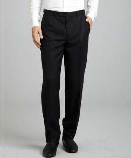 Hickey Freeman navy wool twill flat front pants