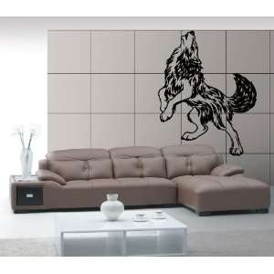 Wolfs Howl to the Moon Animal Design Wall Mural Vinyl