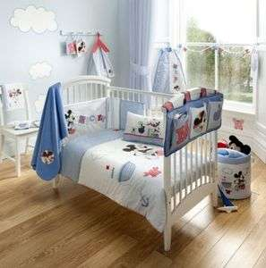 OFFICIAL MICKEY MOUSE BLUE NURSERY COT SET BEDDING CURTAINS BUMPER