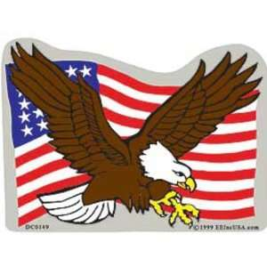 Bald Eagle & American Flag Sticker Automotive