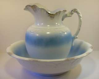 Antique Royal China Stoneware Pitcher and Bowl 15 Wash Basin Bowl