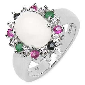 1.64 Carat Opal Ring with 0.56 ct. t.w. Multi Gems in