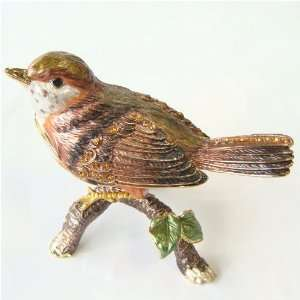 Robin Bird Trinket Box with Swarovski Crystals
