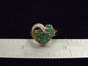 YELLOW GOLD GENUINE EMERALD DIAMOND HEART SHAPED RING SIZE 6