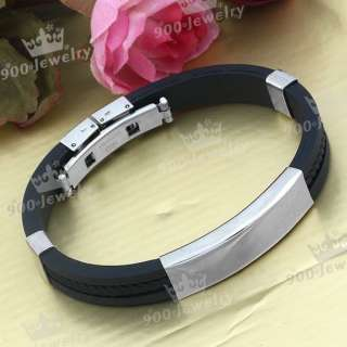 Cool Men Boys Silver Stainless Steel Black Rubber Bracelet 8L Cuff
