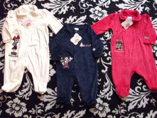 DISNEY MICKEY MINNIE MOUSE PLUTO INFANT BABY SLEEPER OUTFIT SET 0 3 6