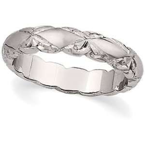 14K White Gold Hand Engraved Wedding Band   Size 6 Jewelry