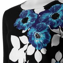 Pierri Womens Fine Gauge Knit Floral Sweater