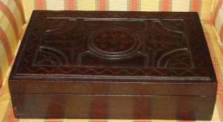 Antique French Tooled Leather Jewelry Box NR