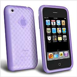 Patterned Clear Purple Rubber Case for Apple iPhone