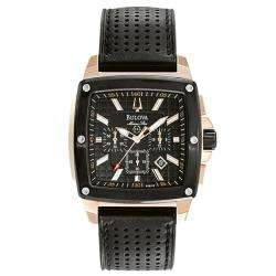 Bulova Mens Marine Star Black Leather Watch
