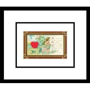 Cupid with Heart in Wagon and Poem, Framed Print by