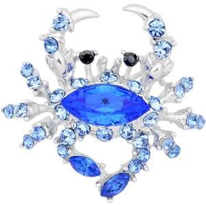 Sapphire Blue Crab Austrian Crystal Pin Brooch Jewelry