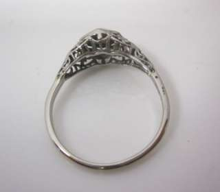 TRUE VINTAGE ANTIQUE 1920S ART DECO FILIGREE WHITE GOLD DIAMOND
