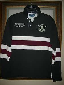 Polo Ralph Lauren mens custom fit L/S stripe rugby polo shirt M, L $