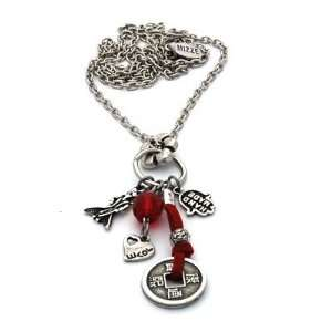 Long Red Necklace with Hamsa Hand and Good Luck Charms Jewelry