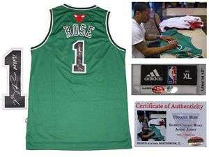 Derrick Rose SIGNED Chicago Bulls Adidas Green Jersey