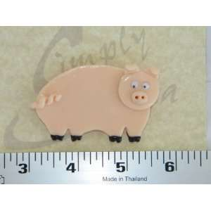 Pink Pig Piggy Polymer Clay Fimo Pin Brooch 1559