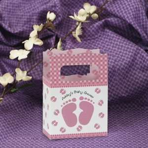 Baby Feet Pink   Mini Personalized Baby Shower Favor Boxes