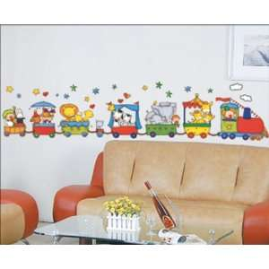 Train Cut Animals Wall Sticker Decal for Baby Nursery Kids Room Baby