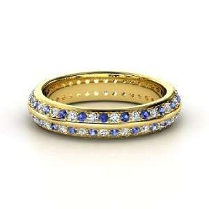 Pave Band, 14K Yellow Gold Ring with Diamond & Sapphire Jewelry