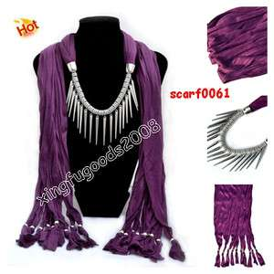 NEW Purple Fashion jewelry Scarves pashmina cotton necklace Scarf