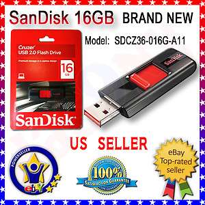 BRAND NEW Geniune SanDisk Cruzer 16GB USB 2.0 Flash Drive SDCZ36 016G