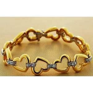 18kt Two Tone Gold Diamond Heart Bracelet (1.65 ct. tw