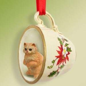 Red Persian Cat Ornament Christmas Ornament Cup of Tea