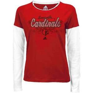 adidas Louisville Cardinals Ladies Red Rhinestone Script