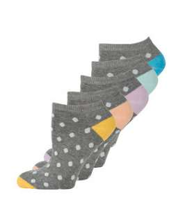 Charcoal (Grey) 5 Pack Grey and White Spot Trainer Socks  248786703