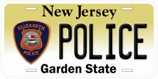New Jersey Elizabeth Police Novelty Car License Plate