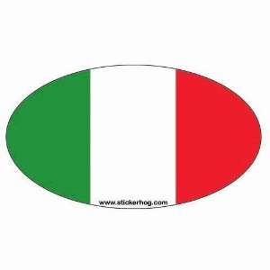 Italy Country Flag Euro Oval bumper sticker decal with ITALIAN FLAG