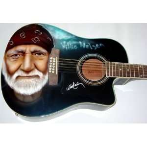 Willie Nelson Autographed Signed Airbrush Guitar Toys & Games