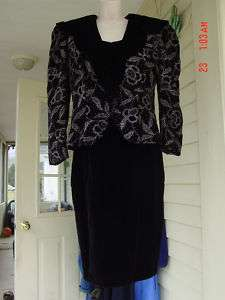JESSICA McCLINTOCK black velvet dress w/jacketNICE10
