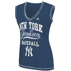 New York Yankees Womens My Crush V Neck Fashion Top   X Large