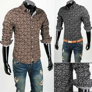 Men Casual Slim Fit Fashion Flower Printed Dress Shirts 2colors 3sizes