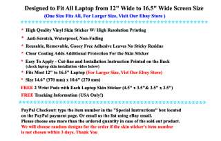 15.6 16 LAPTOP PROTECTIVE SKIN STICKER NOTEBOOK COVER DECAL ART USA