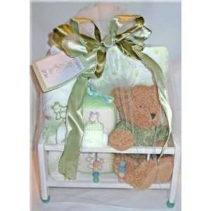 Rock A Bye Baby Gift Set In Adorable Wooden Crib   6 pc Baby