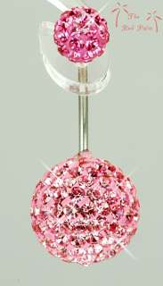 15mm PINK SWAROVSKI CRYSTAL BALL Navel Belly RING BAR