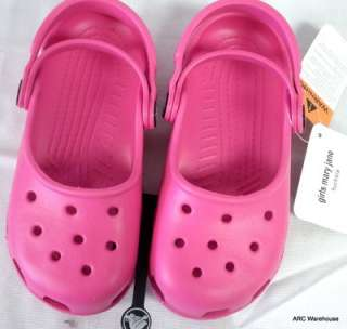GIRLS YOUTH FUCHSIA PINK MARY JANE CROCS NWT SZ 10/11 CLASSIC SANDALS