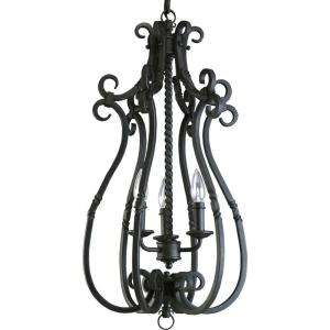 Thomasville Lighting Santiago Collection Forged Black 3 light Foyer