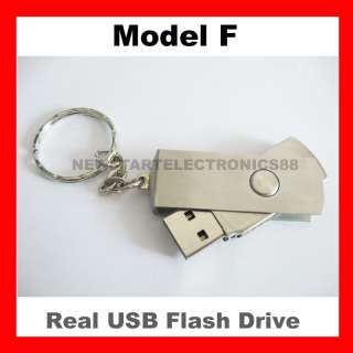 New 8GB USB Flash Drive Memory Pen Key Stick Swivel Metal Keyring Free