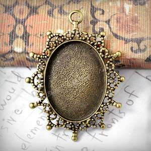 Wholesale Oval Pendants vintage Cabochon Settings Antique Brass bronze