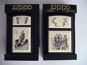 CANADA NIAGARA FALLS SCRIMSHAW SHIP ZIPPO LIGHTER LOT