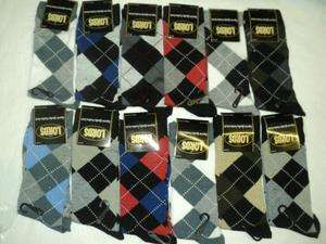 ARGYLE Size 10 13 LORDS 3Pack Mens Dress Socks 70% Cotton 30%